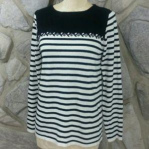 J. Crew Factory Black & White Stripe Jewel Sweater